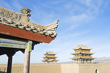 Ming dynasty Jiayuguan Fort dating from 1372 in the Hexi Corridor, Gansu Province, China, Asia