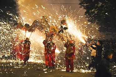 Fire Dragon lunar New Year festival, Taijiang town, Guizhou Province, China, Asia