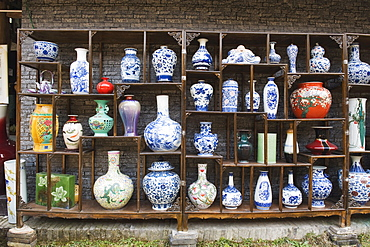 A display of vases at the Qing and Ming Ancient Pottery Factory, Jingdezhen city, Jiangxi Province, China, Asia