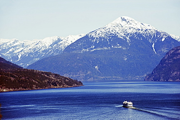 A ferry in Howe Sound, scenery on the Sea to Sky Highway, near Vancouver, British Columbia, Canada, North America