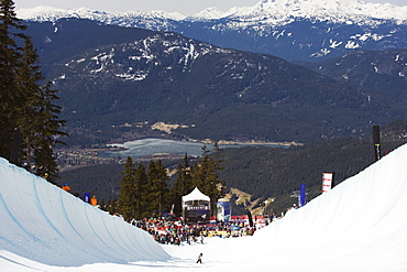 Telus Festival half pipe competition, Whistler mountain resort, venue of the 2010 Winter Olympic Games, British Columbia, Canada, North America