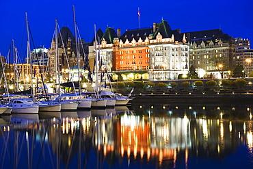 Fairmont Empress Hotel, James Bay Inner Harbour, Victoria, Vancouver Island, British Columbia, Canada, North America