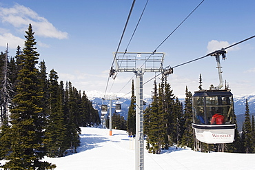 Cable car in Whistler mountain resort, venue of the 2010 Winter Olympic Games, British Columbia, Canada, North America