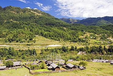 Farm houses, Bumthang, Chokor Valley, Bhutan, Asia
