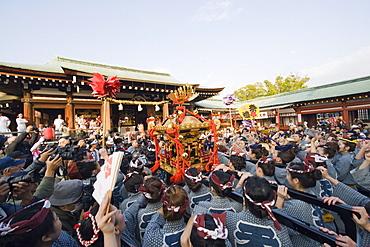 Mikoshi portable shrine being carried at Hadaka Matsuri (Naked Festival), Hofu city, Yamaguchi Prefecture, Japan, Asia