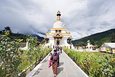 Pilgrims at the National Memorial Chorten, Thimphu, Bhutan, Asia