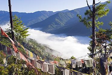Prayer flags above Thimphu, Bhutan, Asia