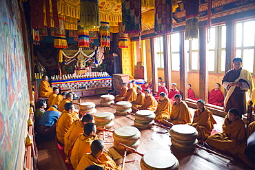 Monks with drums at a ceremony in Jakar Dzong, Castle of the White Bird, Jakar, Bumthang, Chokor Valley, Bhutan