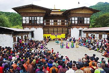 Dancers at Thangbi Mani Tsechu (festival), Jakar, Bumthang, Chokor Valley, Bhutan, Asia