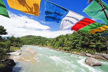 Prayer flags on a bridge, Bumthang, Chokor Valley, Bhutan, Asia