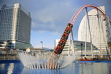 Funfair rollercoaster, Minato Mirai, Yokohama, Japan