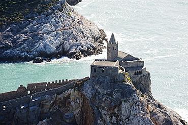 Clifftop church, Porto Venere, Cinque Terre, UNESCO World Heritage Site, Liguria, Italy, Europe