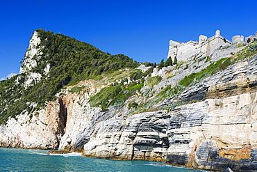 Clifftop castle, Porto Venere, Cinque Terre, UNESCO World Heritage Site, Liguria, Italy, Europe