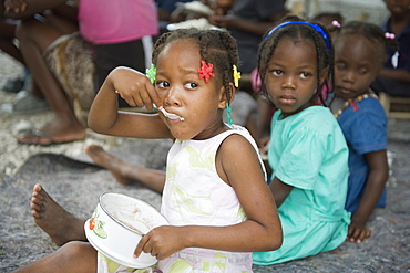 Orphans at an orphanage after the January 2010 earthquake, Port au Prince, Haiti, West Indies, Caribbean, Central America