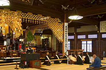 Buddhist monks performing prayers and music, Kyoto city, Honshu, Japan, Asia