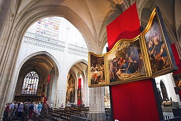 Canvas by Rubens in Onze Lieve Vrouwekathedraal, Antwerp, Flanders, Belgium, Europe