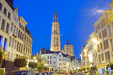 Tower of Onze Lieve Vrouwekathedraal and street illuminated at night, Antwerp, Flanders, Belgium, Europe