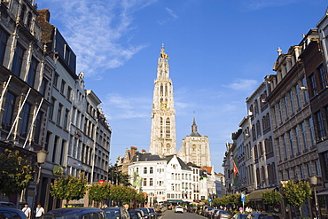 Tower of Onze Lieve Vrouwekathedraal, built between 1352 and 1521, Antwerp, Flanders, Belgium, Europe