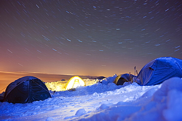 Star trails, camp site at 4000m on Mont Blanc, Chamonix, French Alps, France, Europe