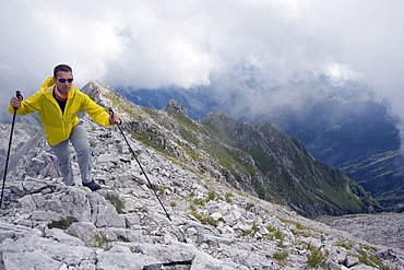 Hiker in the Apuan Alps, Tuscany, Italy, Europe