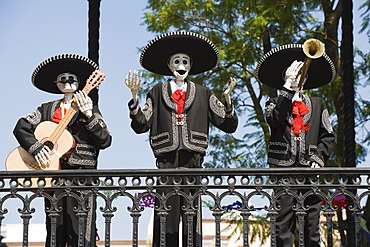 Skeleton figure decorations during Dia de Muertos (Day of the Dead), Morelia, Michoacan state, Mexico, North America