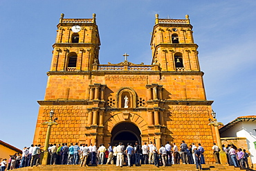 Congregation at Catedral de la Inmaculada Concepcion (Cathedral of the Immaculate Conception), Barichara, Colombia, South America