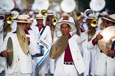 Musicians playing at Anata Andina harvest festival, Carnival, Oruro, Bolivia, South America