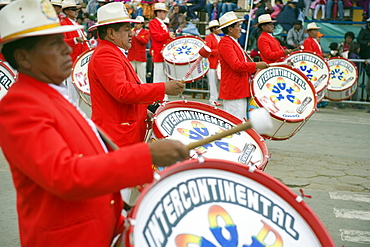 Musicans playing drums at Oruro Carnival, Oruro, Bolivia, South America
