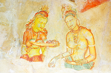 Ancient frescoes, Sigiriya, UNESCO World Heritage Site, North Central Province, Sri Lanka, Asia