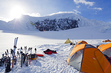Camp 1, climbing expedition on Mount McKinley, 6194m, Denali National Park, Alaska, United States of America, North America