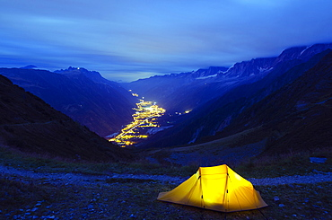 Illuminated tent and Chamonix Valley, Haute-Savoie, French Alps, France, Europe