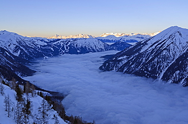 Europe, France, French Alps, Haute-Savoie, Chamonix, Chamonix valley, sea of clouds