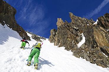 Col du Passon off piste ski touring area, Chamonix Valley, Haute-Savoie, French Alps, France, Europe