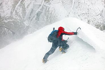 Ice climbing on Aiguille du Midi, Chamonix, Haute-Savoie, French Alps, France, Europe