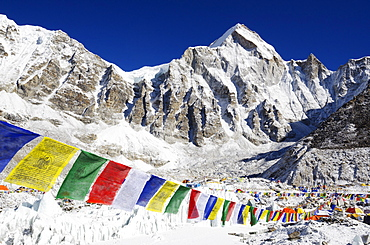Prayer flags at Everest Base Camp, Solu Khumbu Everest Region, Sagarmatha National Park, UNESCO World Heritage Site, Nepal, Himalayas, Asia