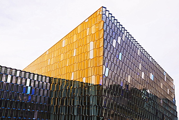 Harpa Concert Hall and Conference Center, the glass facade designed by Olafur Eliasson and Henning, Reykjavik, Iceland, Polar Regions
