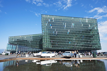 Harpa Concert Hall and Conference Center, the glass facade was designed by Olafur Eliasson and Henning, Reykjavik, Iceland, Polar Regions