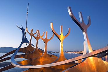 Iceland, Reykjavik, Solfar (Sun Voyager), iconic stainless-steel modern sculpture representing a Viking longboat by Jon Gunnar Arnason