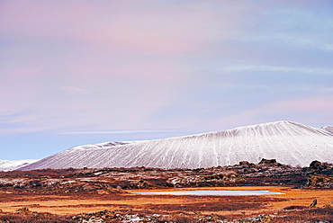 Hverfjall volcano crater at sunset, Myvatn, Iceland, Polar Regions