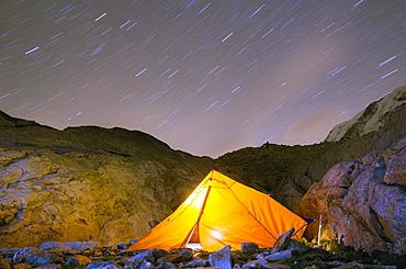 Camping on Monte Rosa moraine, Zermatt, Valais, Swiss Alps, Switzerland, Europe