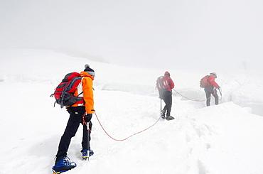Climbers on Breithorn mountain, Zermatt, Valais, Swiss Alps, Switzerland, Europe