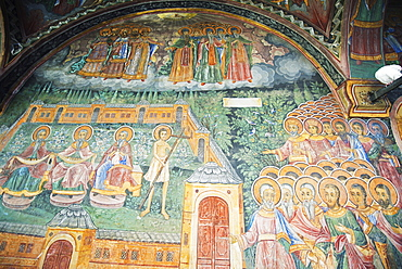 Church of the Holy Virgin, mural frescos by Zahari Zograf, Troyan Monastery, Bulgaria, Europe