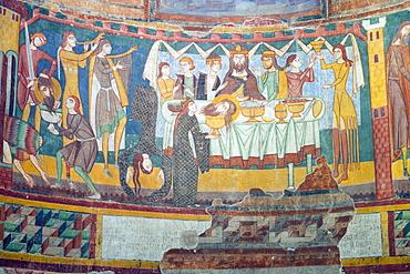 Carolingian and Romanesque frescoes, Church of the Benedictine Kloster St. Johann (Benedictine Convent of St. John), UNESCO World Heritage Site, Mustair, Graubunden,  Switzerland, Europe
