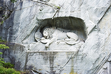 Lion Monument by Lucas Ahorn for Swiss soldiers who died in the French Revolution, Lucerne, Switzerland, Europe