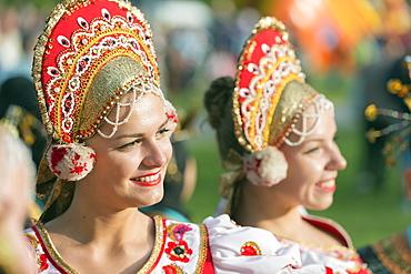 Performers from Romania in traditional costume, International Festival of Mountain Folklore, Zakopane, Carpathian Mountains, Poland, Europe
