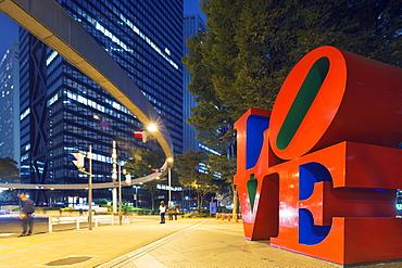 Love sculpture by Robert Indiana, Shinjuku, Tokyo, Honshu, Japan, Asia