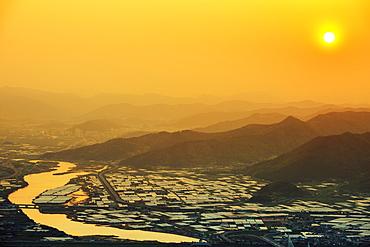Sunset over city, Busan, South Korea, Asia