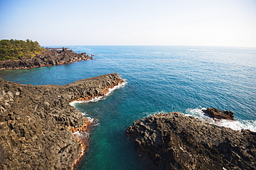 Jungman Daepo columnar jointed lava formation, Seogwipo, Jeju Island, UNESCO World Heritage Site, South Korea, Asia