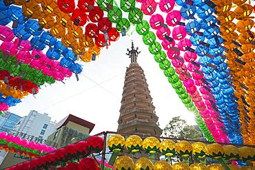 Lantern decorations for Festival of Lights, Jogyesa Buddhist Temple, Seoul, South Korea, Asia