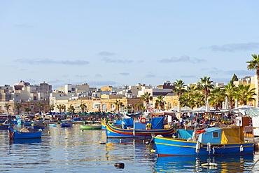 Colourful fishing boats (dghajsa), Marsaxlokk Harbour, Malta, Mediterranean, Europe